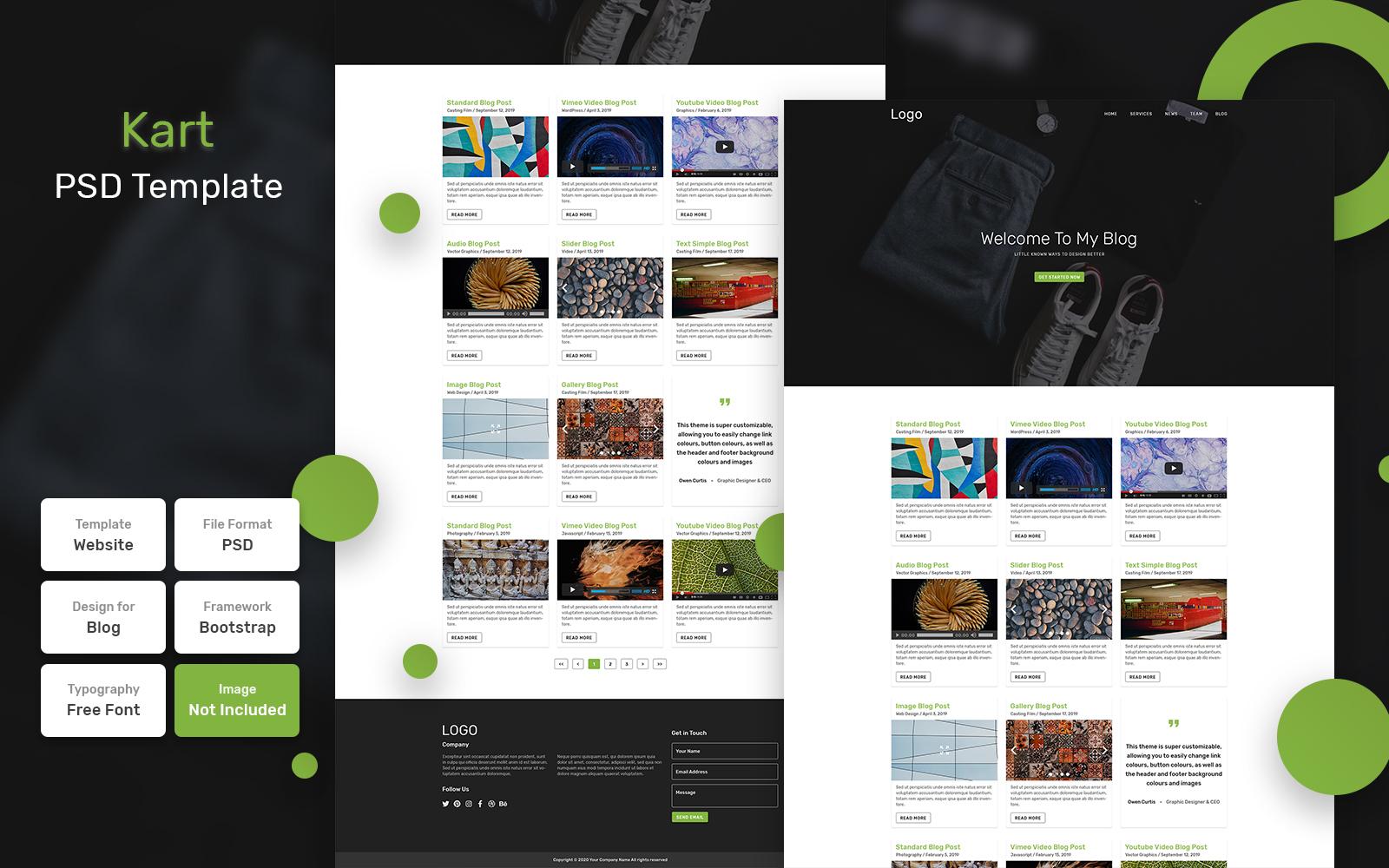 """""""Kart - Blog Material"""" Bootstrap PSD Template №110885"""