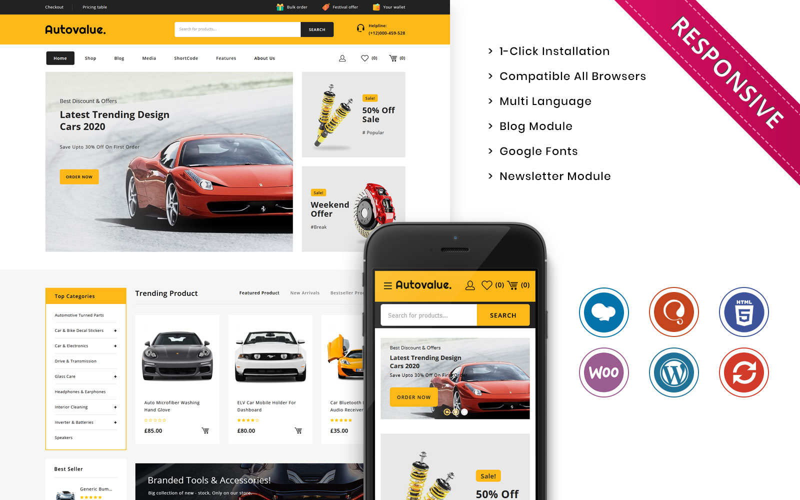 Responsywny motyw WooCommerce Auto value - The Automobile Store Responsive #110822