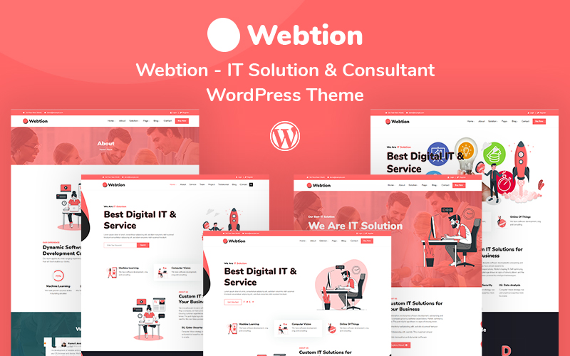Webtion – IT Solution & Consultant Responsive Tema WordPress №110826
