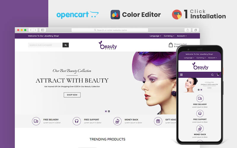 """Beauty Store Responsive"" 响应式OpenCart模板 #110972"