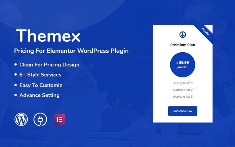 "Modello Plugin per WordPress Responsive #110975 ""Themex Pricing For Elementor"""