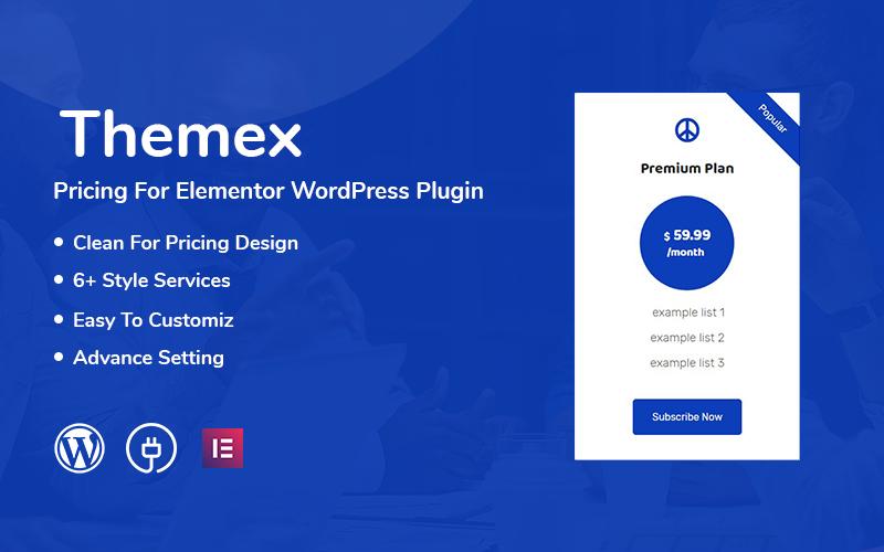 Reszponzív Themex Pricing For Elementor WordPress bővítmény 110975