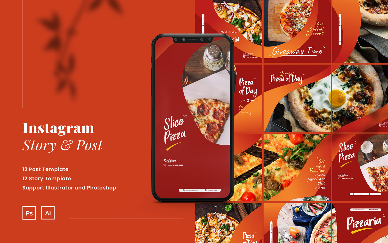 """Soziale Medien namens """"Pizza Instagram Puzzle Ads Story & Post Template"""" #110923"""