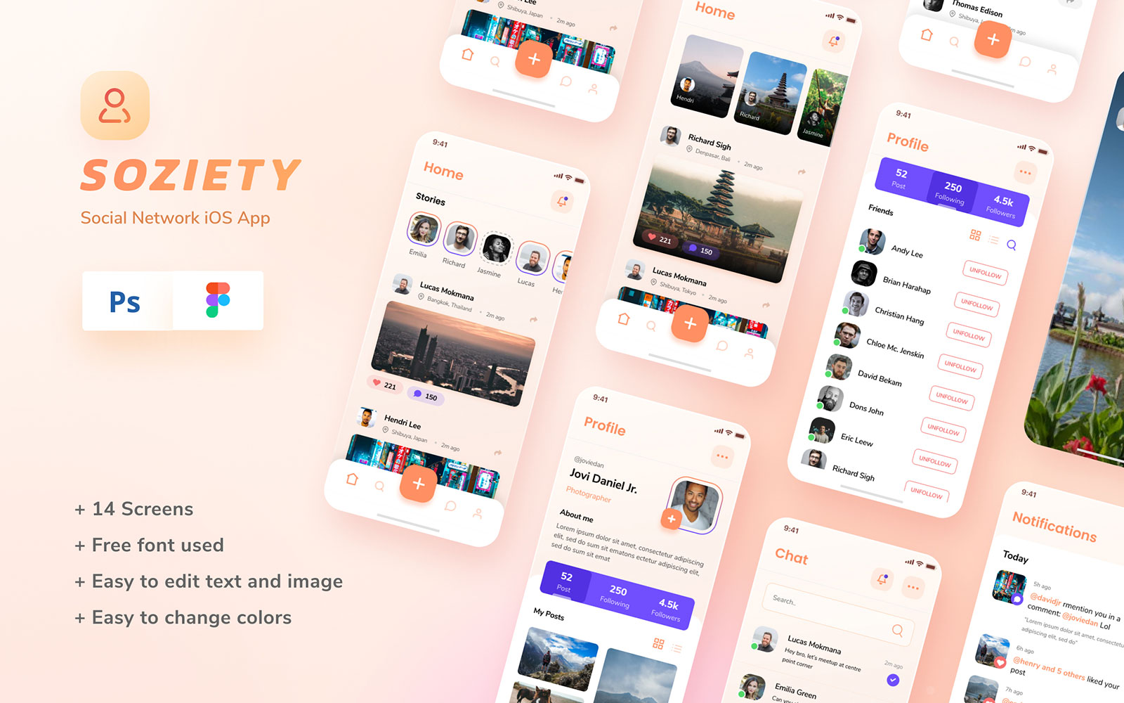 "Template Elementi UI #110929 ""Soziety - Social Network iOS App Design Template"""