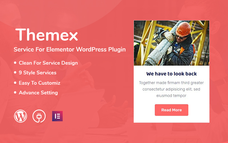 "Template Plugin per WordPress Bootstrap #110908 ""Themex Service For Elementor"""