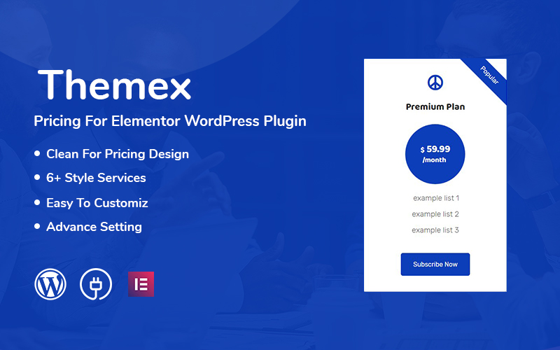 """Themex Pricing For Elementor"" Responsive WordPress Plug-in №110975"