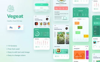 Vegeat - Healthy Food iOS App Design Figma & PSD UI Elements