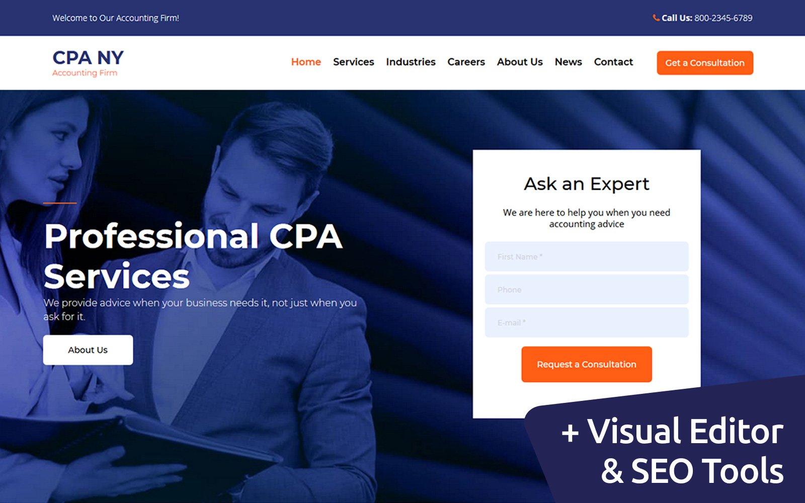 """CPA NY - Accounting Firm"" modèle Moto CMS 3 adaptatif #111047"