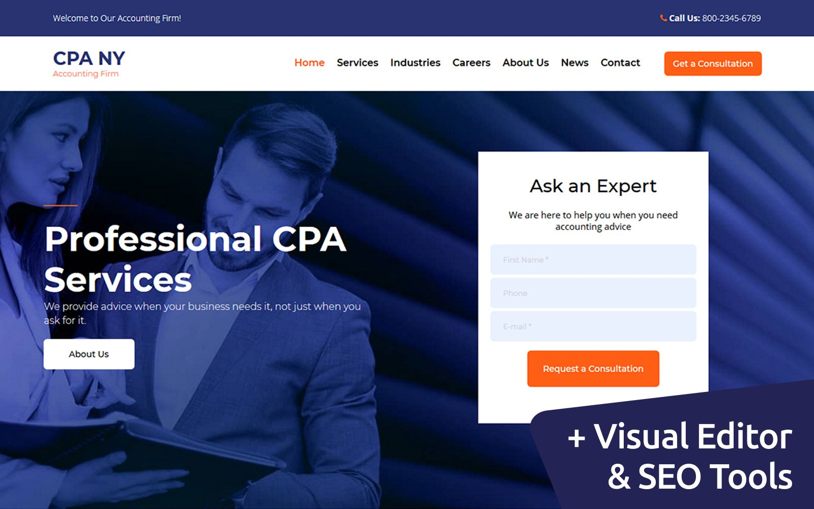 """""""CPA NY - Accounting Firm"""" 响应式Moto CMS 3 模板 #111047"""