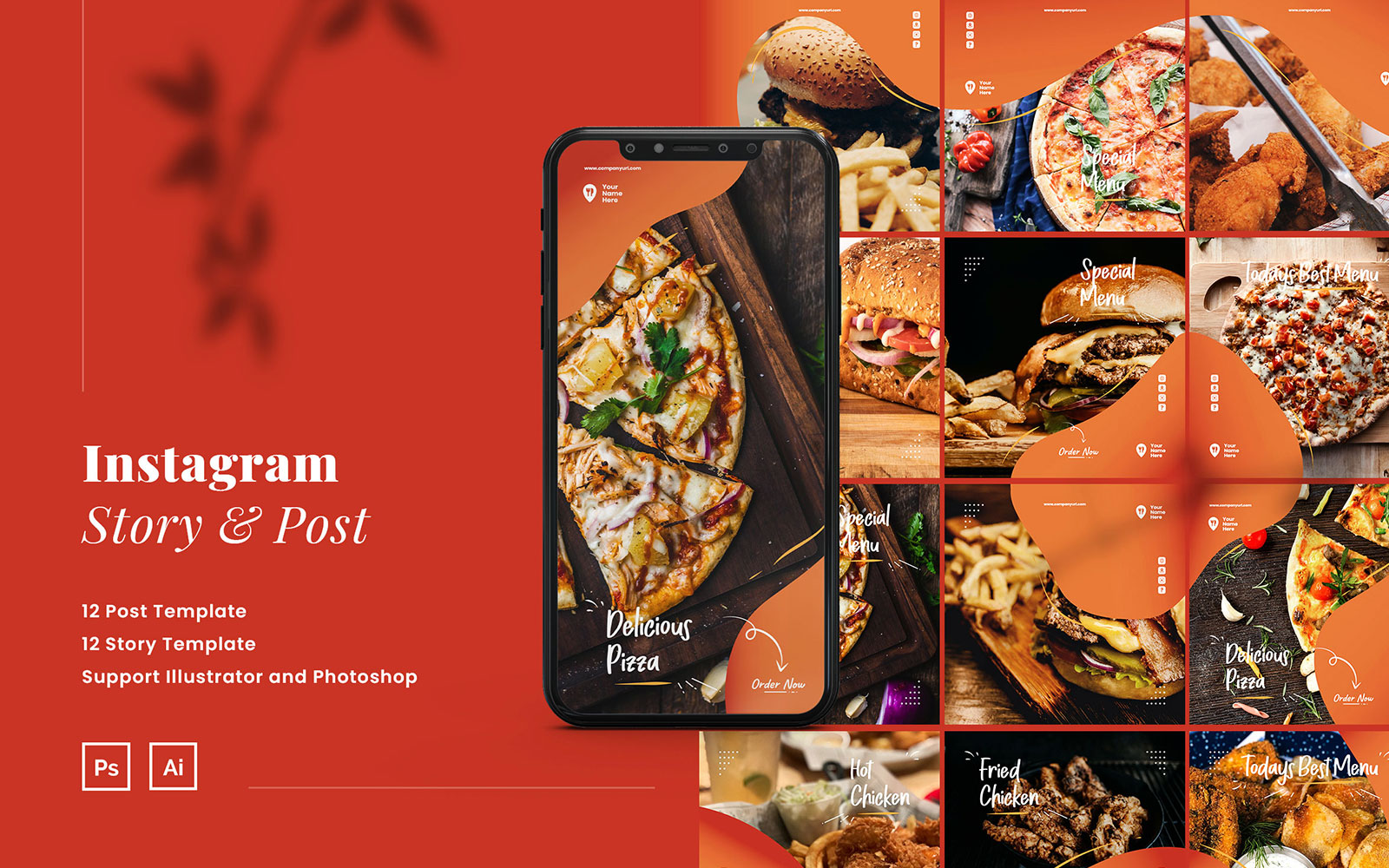 Fast Food Instagram Puzzle Ads Story and Post Template №111025