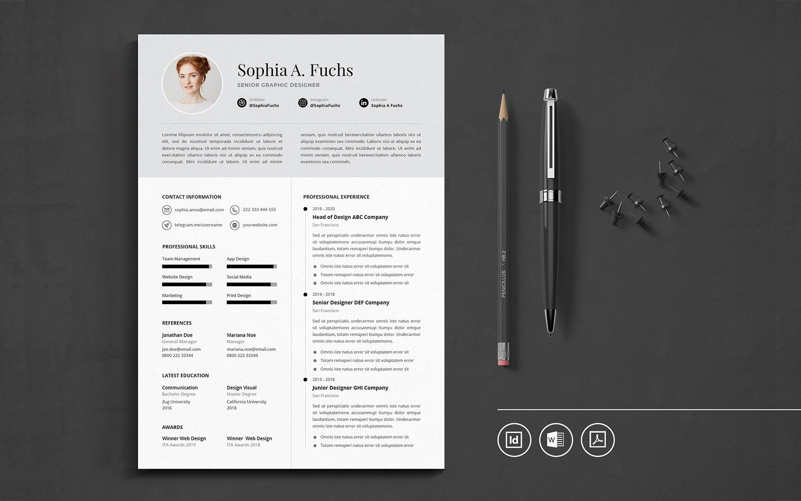 "Lebenslauf-Vorlage namens ""Professional CV Indesign Vol.49"" #111031"