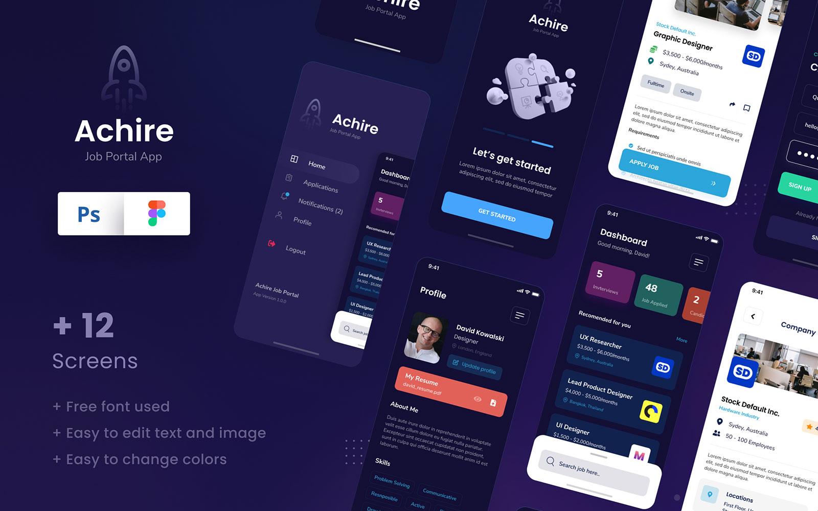 """UI-Elemente namens """"Achire - Job Portal iOS App Design UI Figma & PSD Template"""" #111005"""