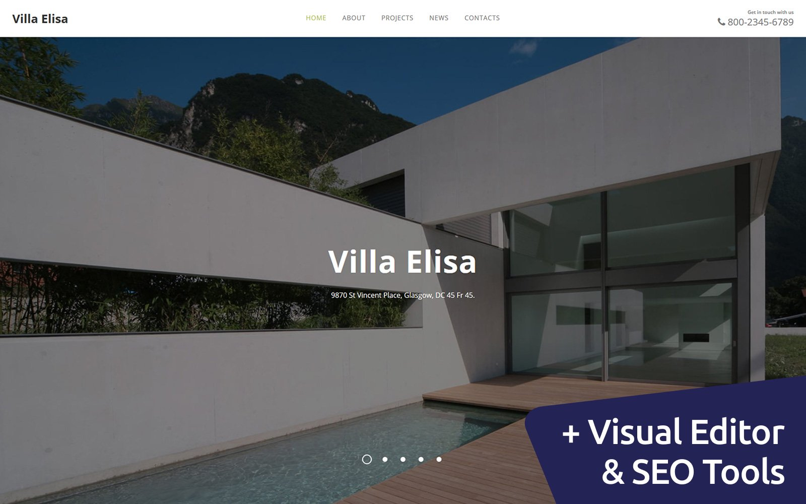 """Villa Elisa - Real Estate"" modèle Moto CMS 3 adaptatif #111048"