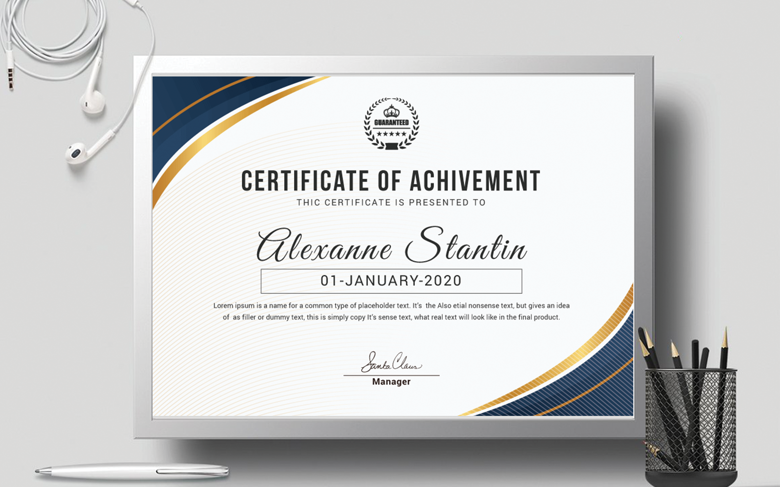 Achievement Award Layout Certificate Template 111171