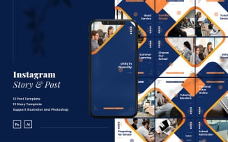 Education Instagram Ads Puzzle Template PSD & AI for Social Media