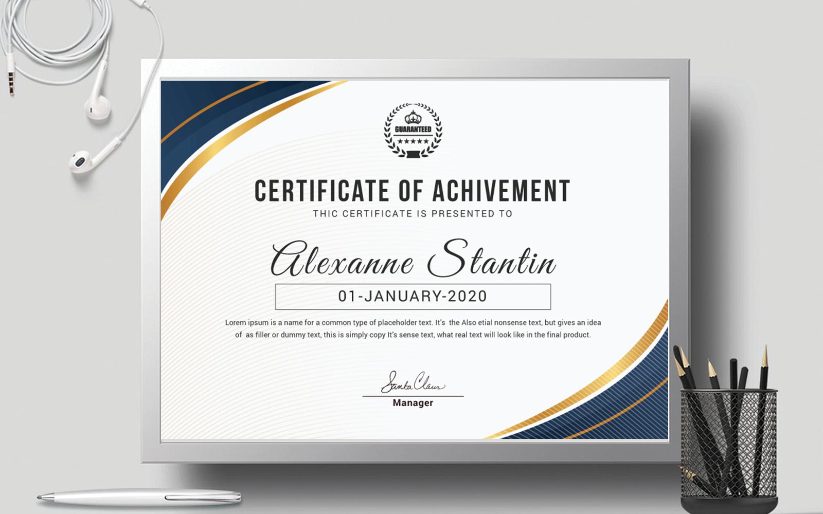 Szablon certyfikatu Achievement Award Layout #111171