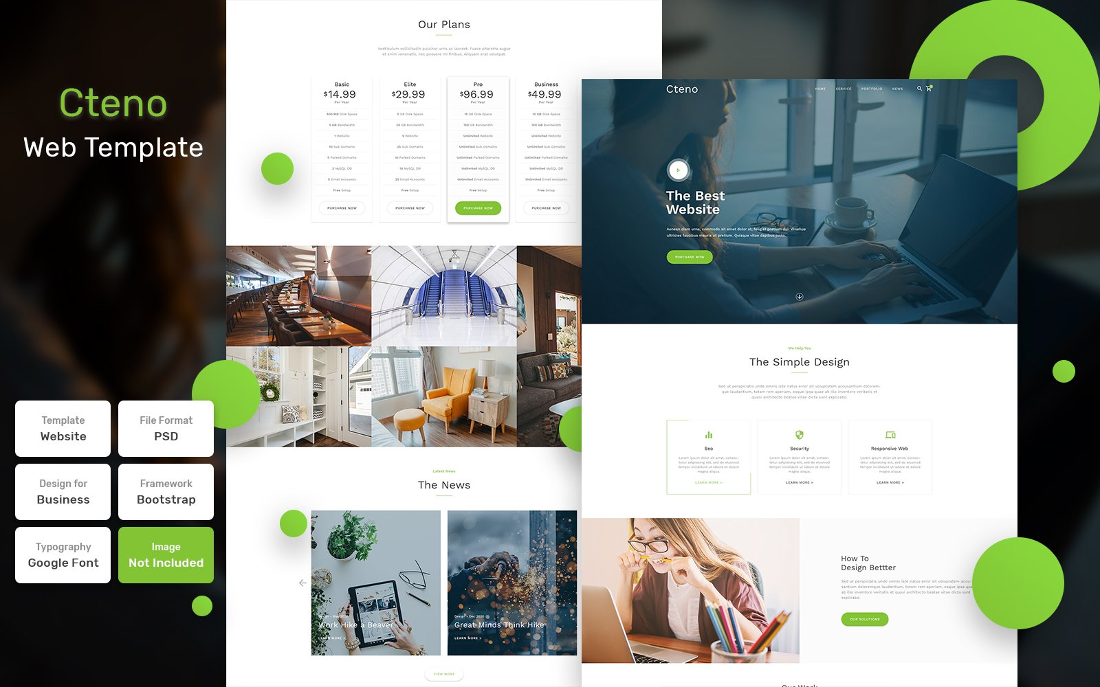 """""""Cteno - Business Material"""" Bootstrap PSD Template №111215"""