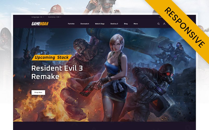 "Modello PrestaShop Responsive #111212 ""Gamehoak - Online Game Store"""