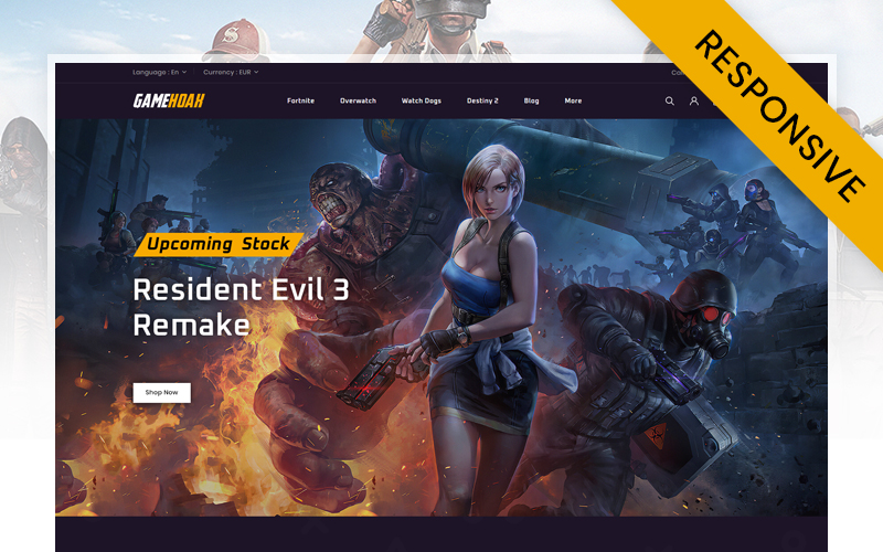 "PrestaShop Theme namens ""Gamehoak - Online Game Store"" #111212"