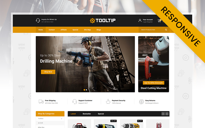 Responsywny szablon OpenCart Tooltip - HandTools Store #111232