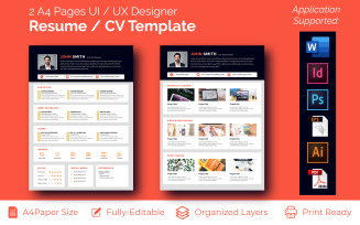 2 A4 Pages UI / UX, Graphic Designer CV Resume Template