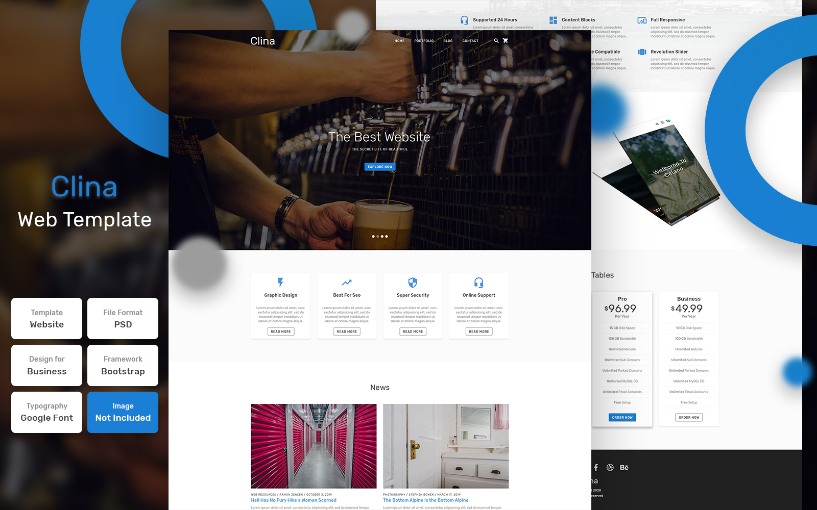"""""""Clina - Agency Material"""" Bootstrap PSD Template №111475"""