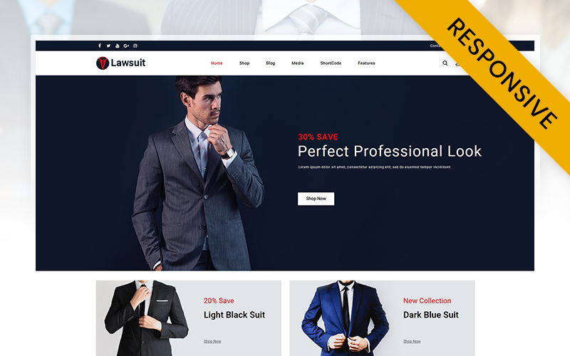 Responsywny motyw WooCommerce Lawsuits - Suits & Blazers Store #111469