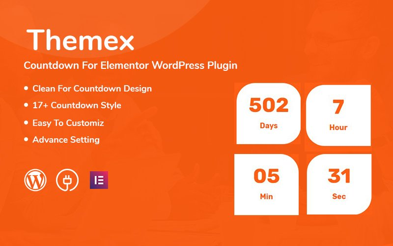 Themex Countdown For Elementor WordPress Plugin Plugin WordPress №111568