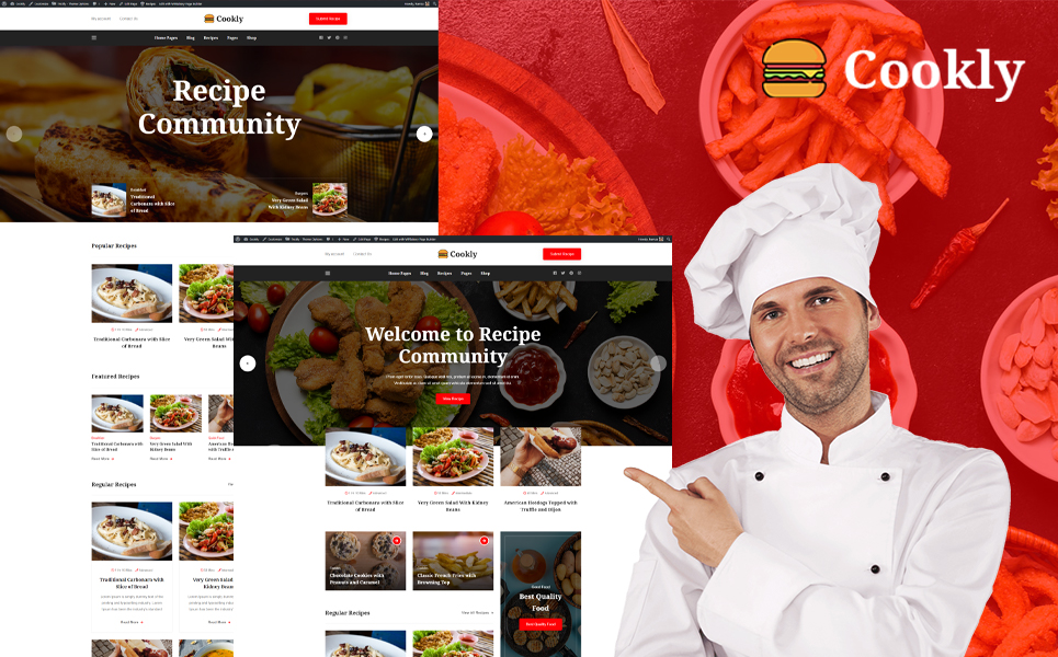 """Cookly - Food and Recipe"" - адаптивний WordPress шаблон №111680"