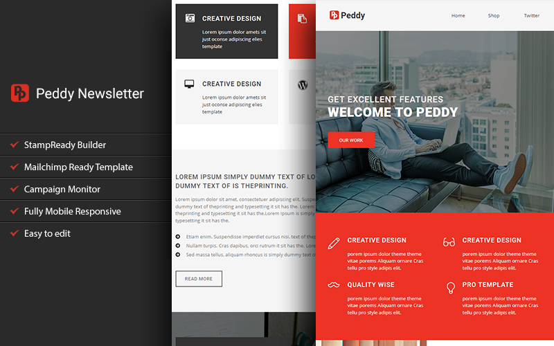 "Responzivní Newsletter šablona ""Peddy - Responsive Email with Stampready Builder"" #111686"