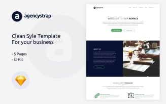 Agencystrap -Business Company Clean-Style Sketch Template