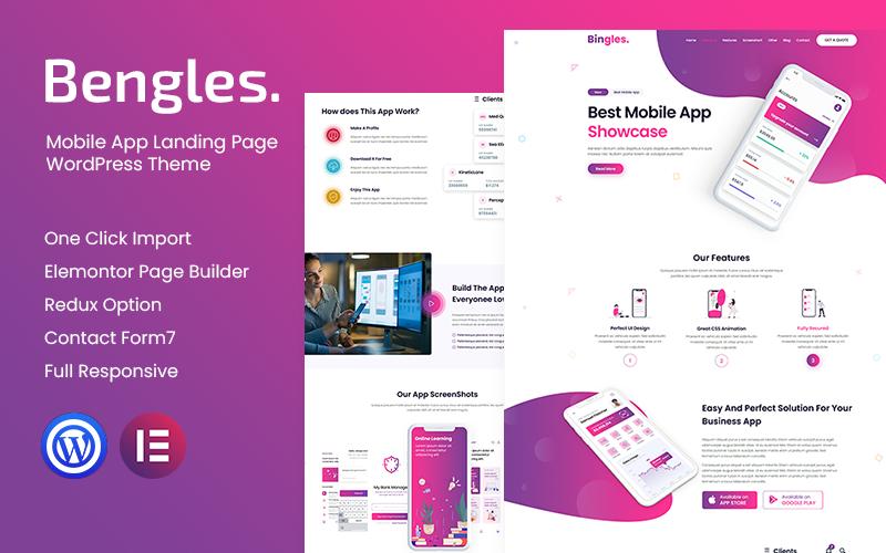 Bingles - Mobile App Landing Page WordPress Theme