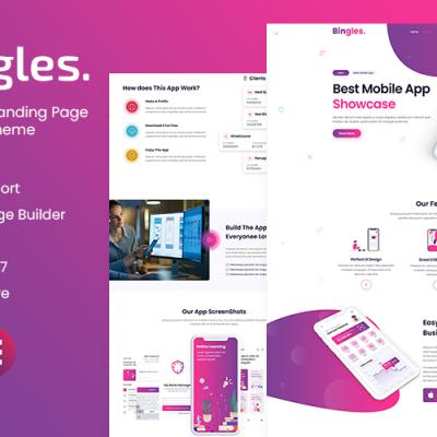 Bingles - Mobile App Landing Page WordPress Theme #112012