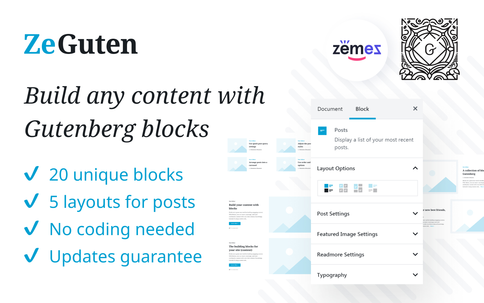 "Modello Plugin per WordPress #112019 ""ZeGuten Gutenberg Plugin to Build a Competitive Website"""