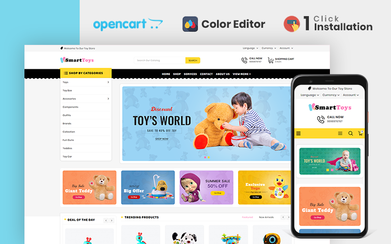 "OpenCart Vorlage namens ""Smart Toy Store"" #112011"