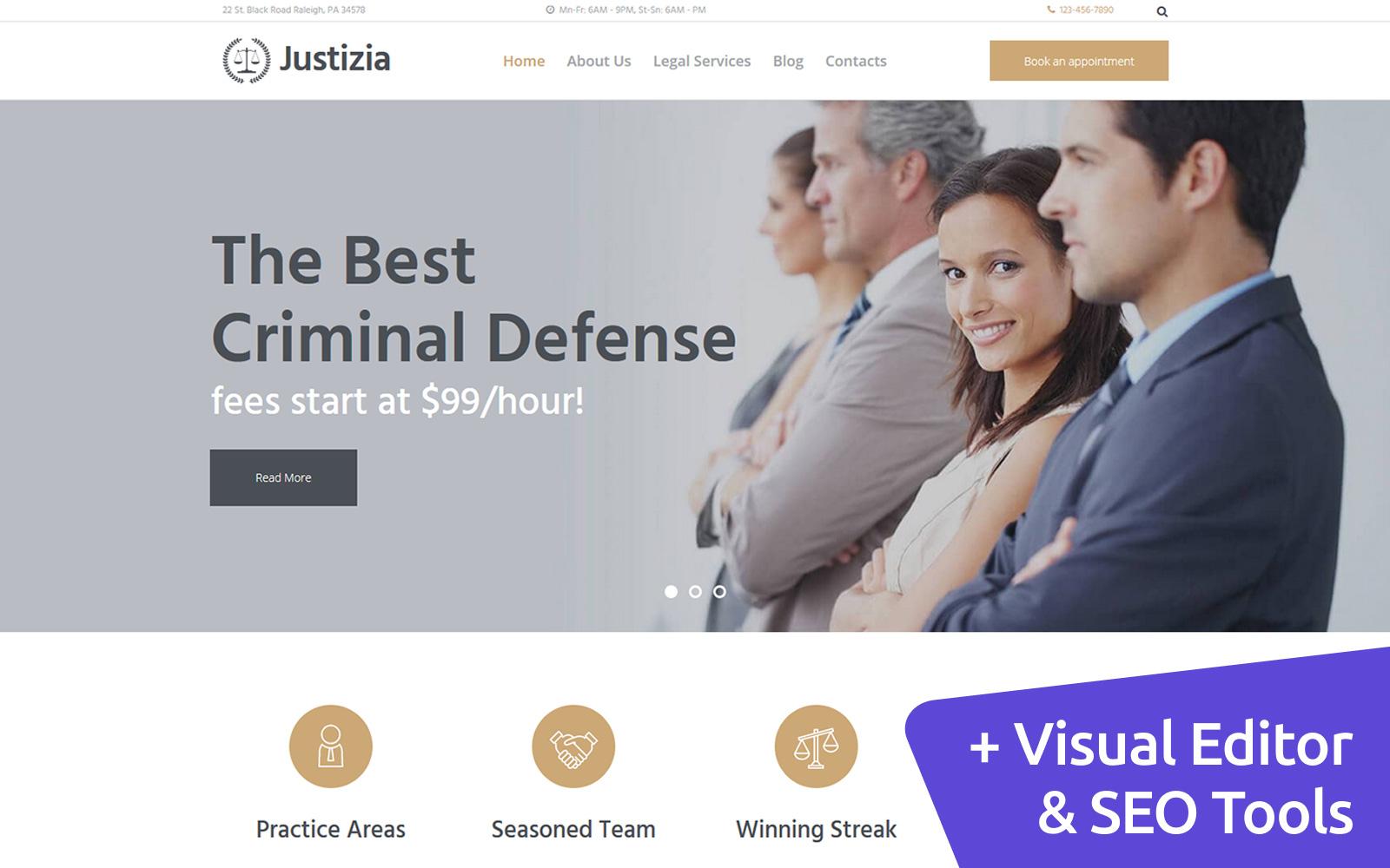 """Responzivní Moto CMS 3 šablona """"Justizia - Lawyer Services"""" #112021"""