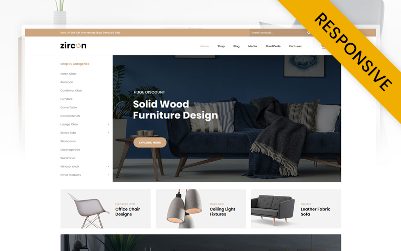 """Zircon - Furniture Store"" thème WooCommerce adaptatif #112013"