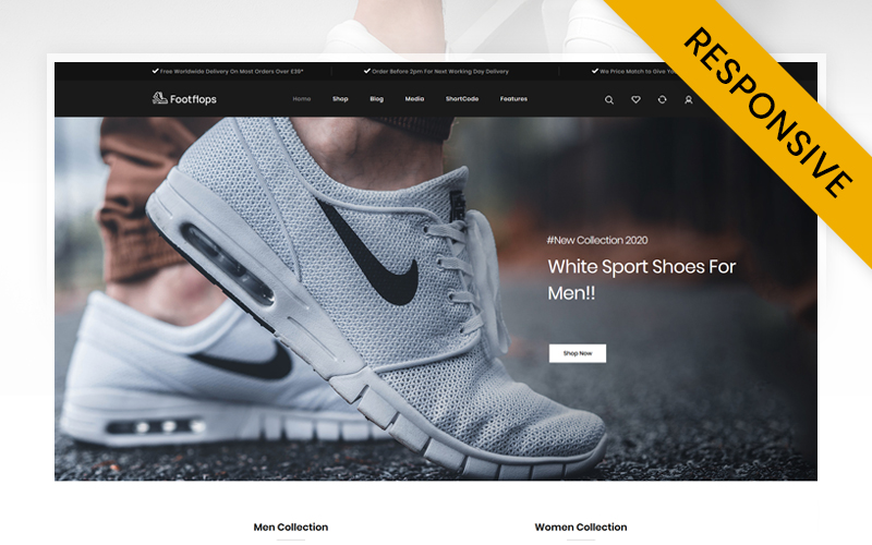 """Footflops - Online Shoes Store"" thème WooCommerce adaptatif #112220"
