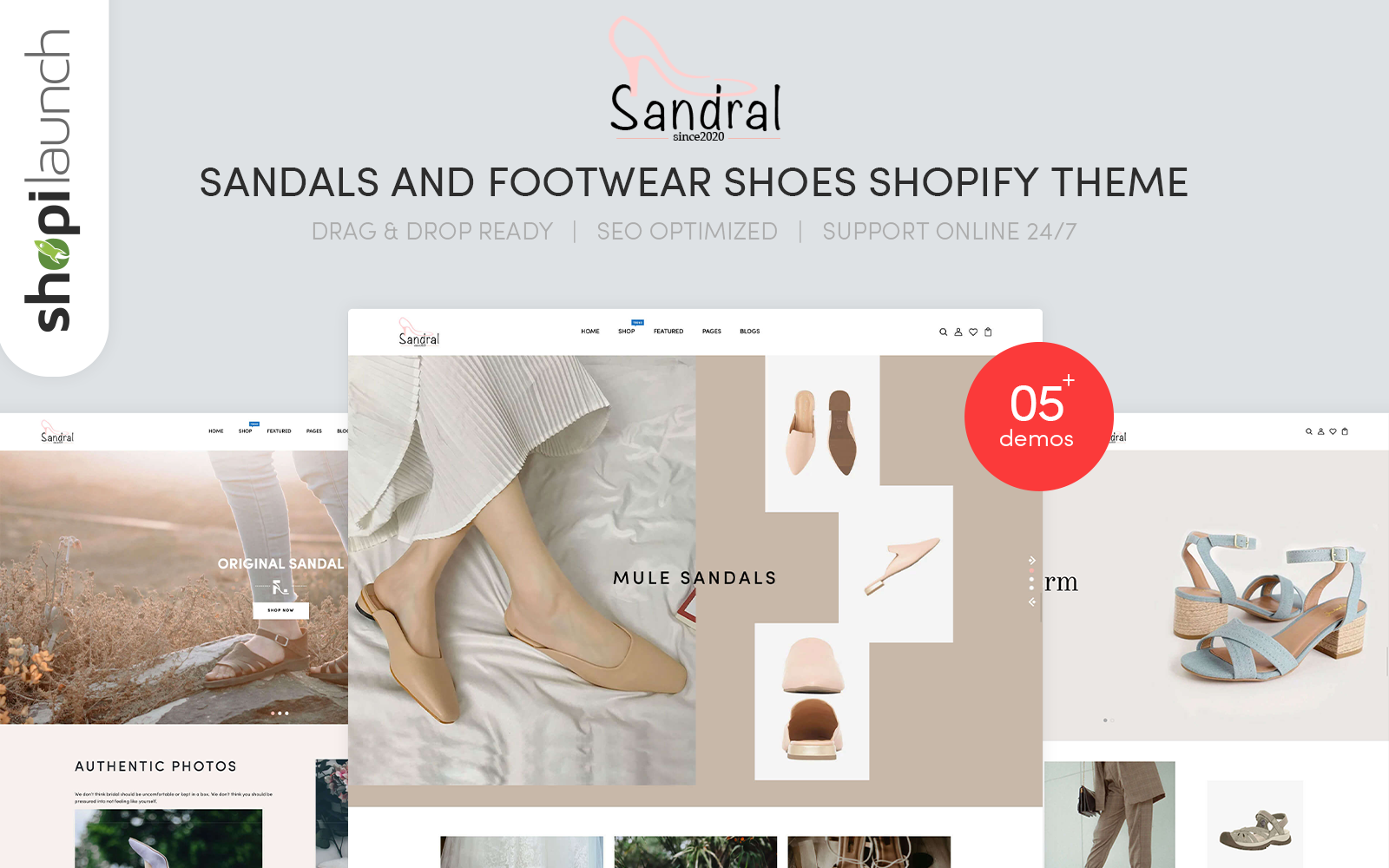 "Template Shopify Responsive #112210 ""Sandral - Sandals And Footwear Shoes"""