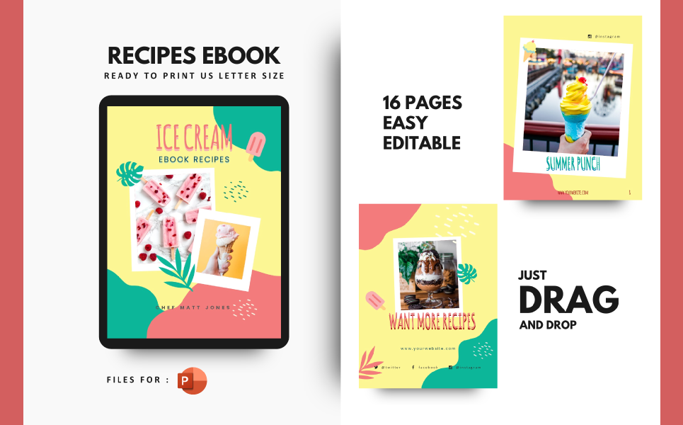 Summer Cocktail Ice Cream Recipe Presentation PowerPoint Template