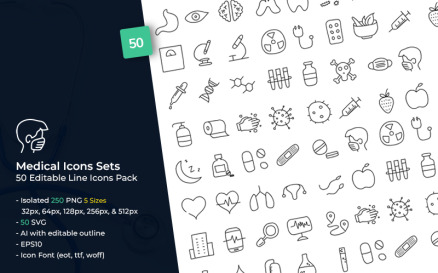 Medical Sets with Hand-drawn Style Icon Set
