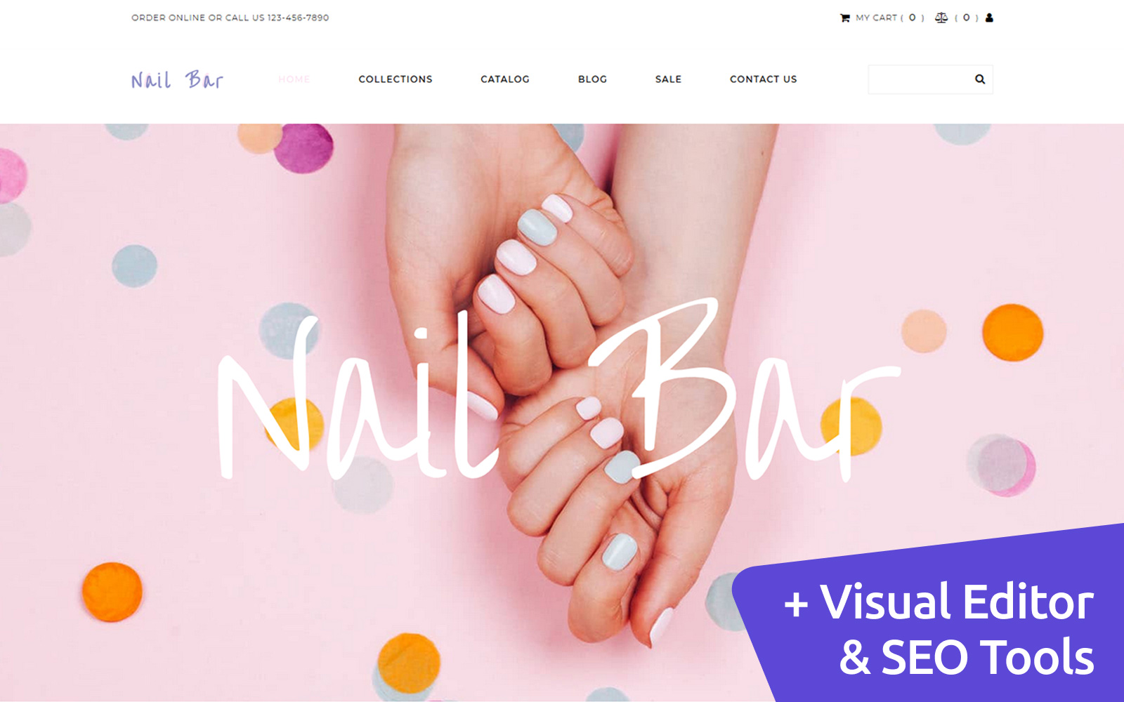 Nail Bar - Cosmetics Store Template Ecommerce MotoCMS №112685