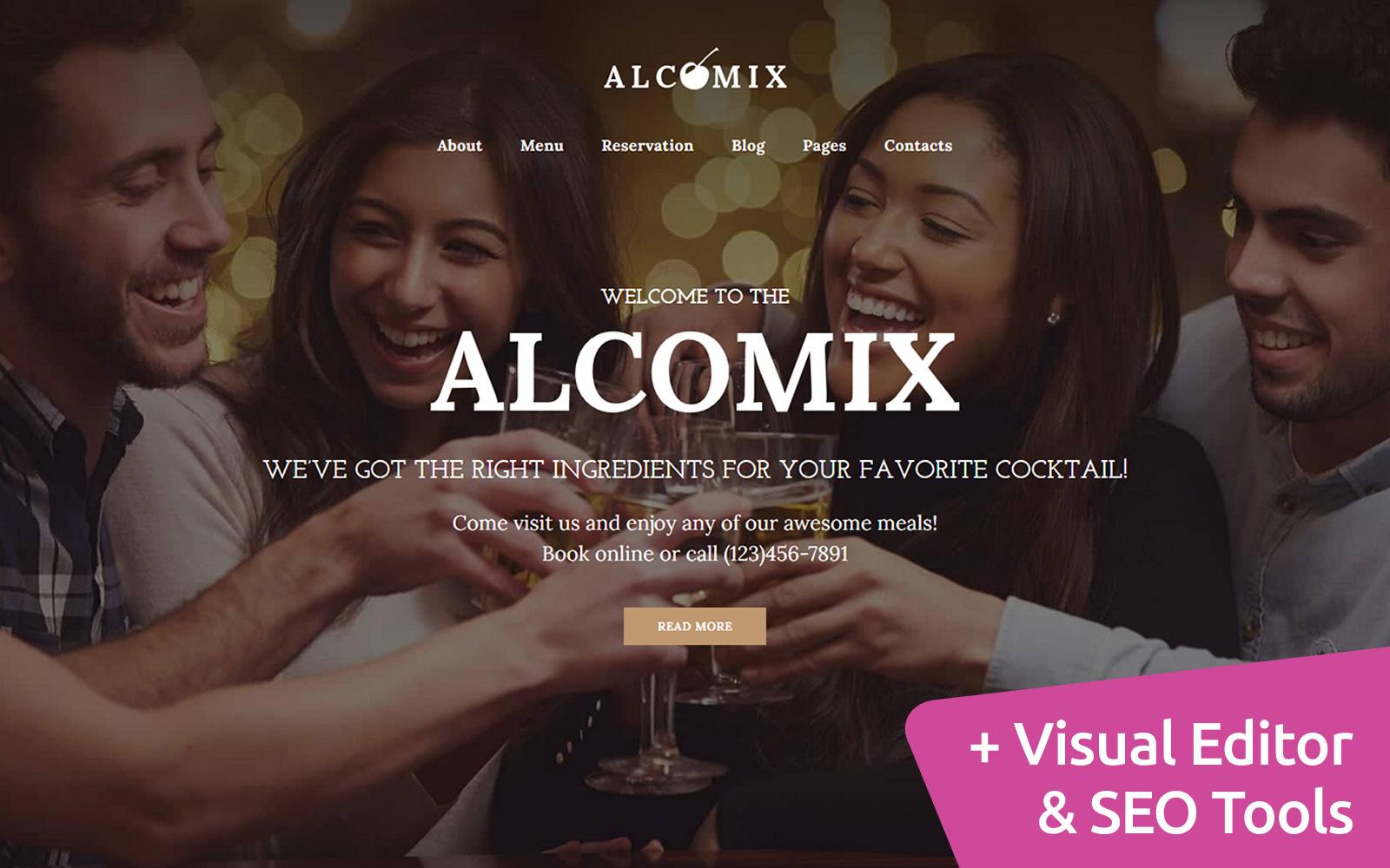 Reszponzív Alcomix - Cocktail Bar Moto CMS 3 sablon 112684