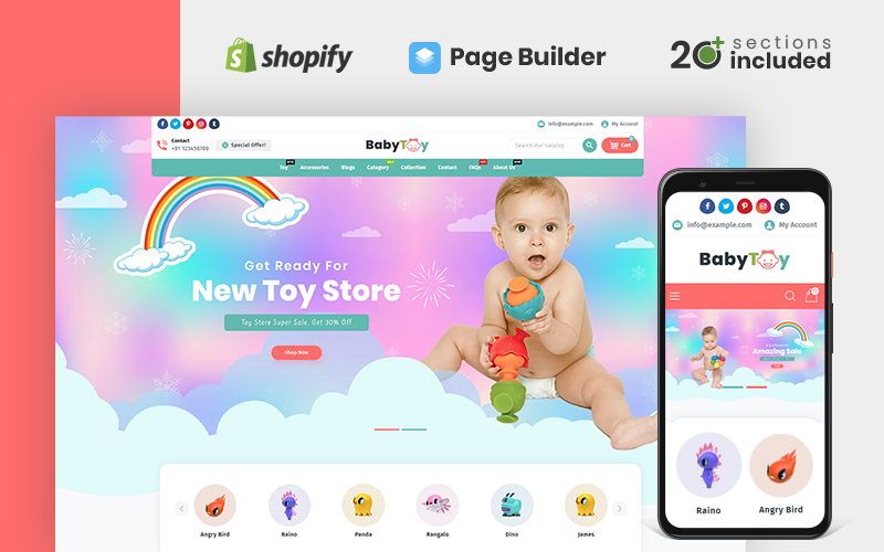 "Tema Shopify ""Baby Toys and Accessories Store"" #112886"