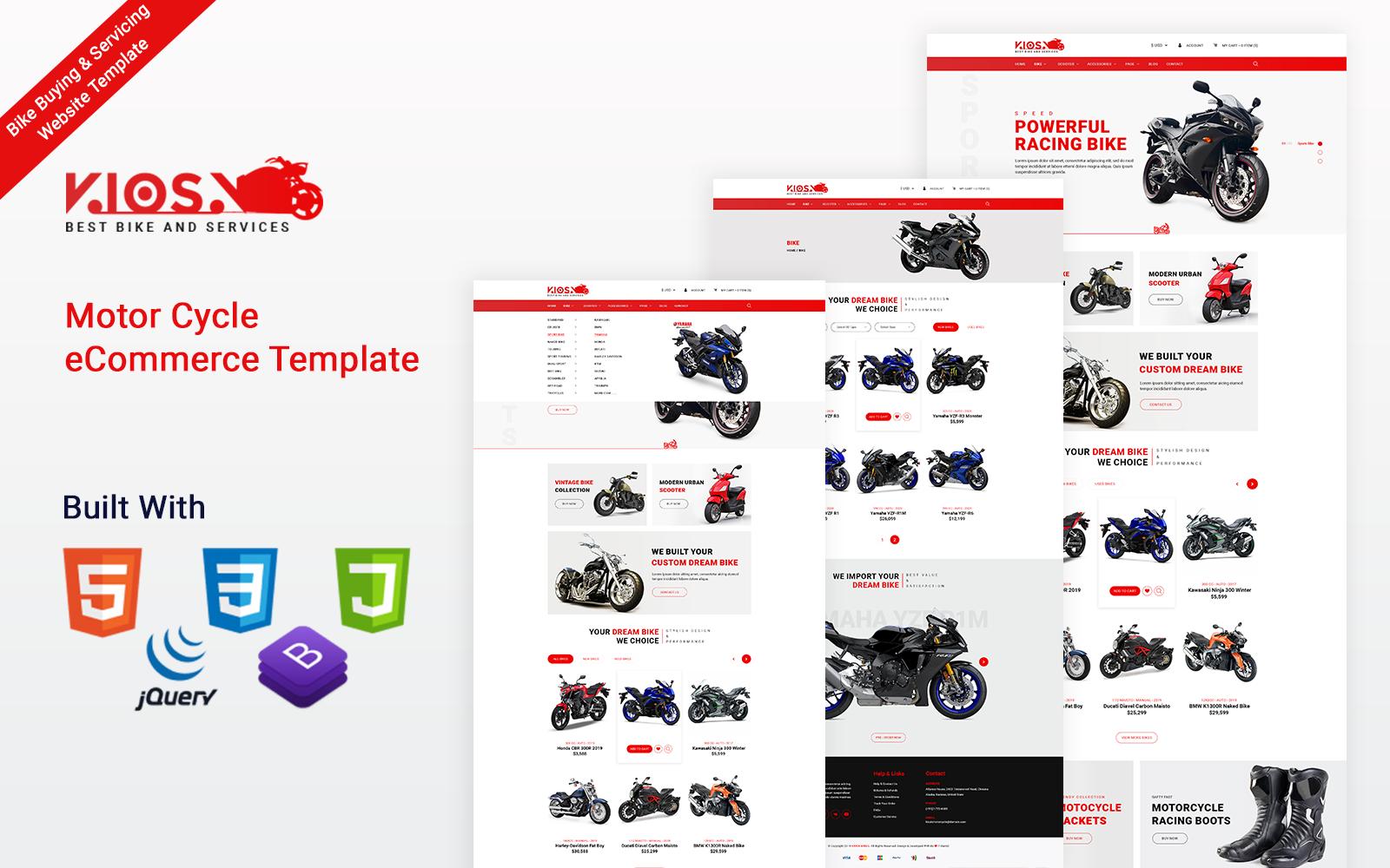 Kiosk Bike - Motor Cycle eCommerce HTML5 Website Template
