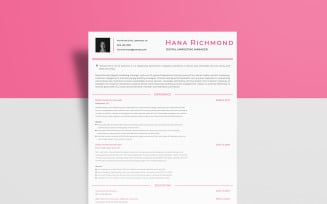 Free Digital Marketing – Hana Richmond Resume Template