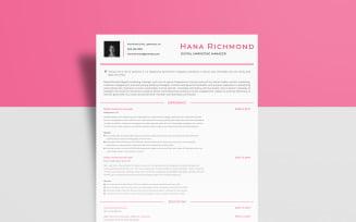 Free Digital Marketing – Hana Richmond Resume Template