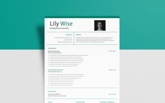 Free Engineering Manager — Lily Wise Resume Template