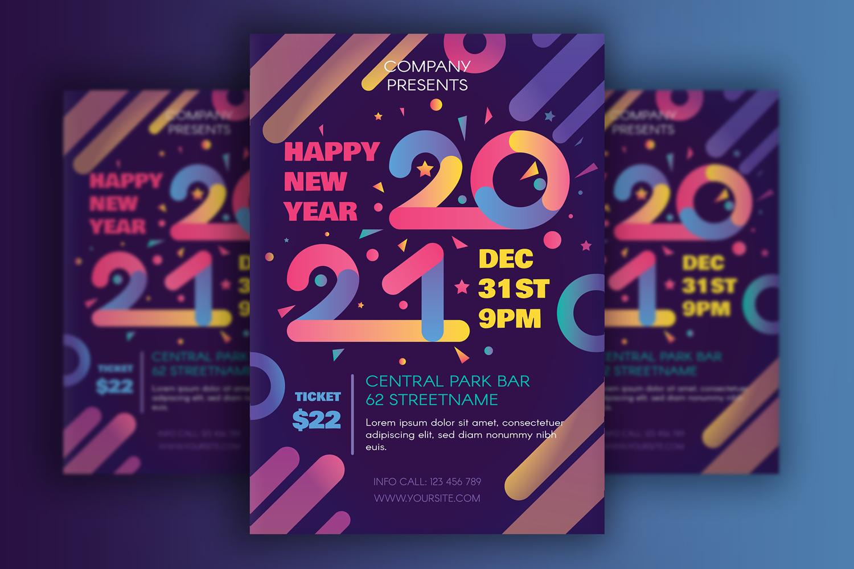 """Modern Happy 2021 New Year Poster"" 企业设计模板 #113251"