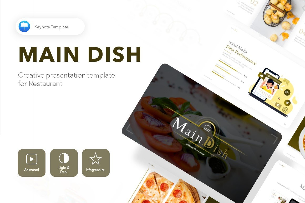 "Modello Keynote #113309 ""Main Dish Restaurant Presentation"""
